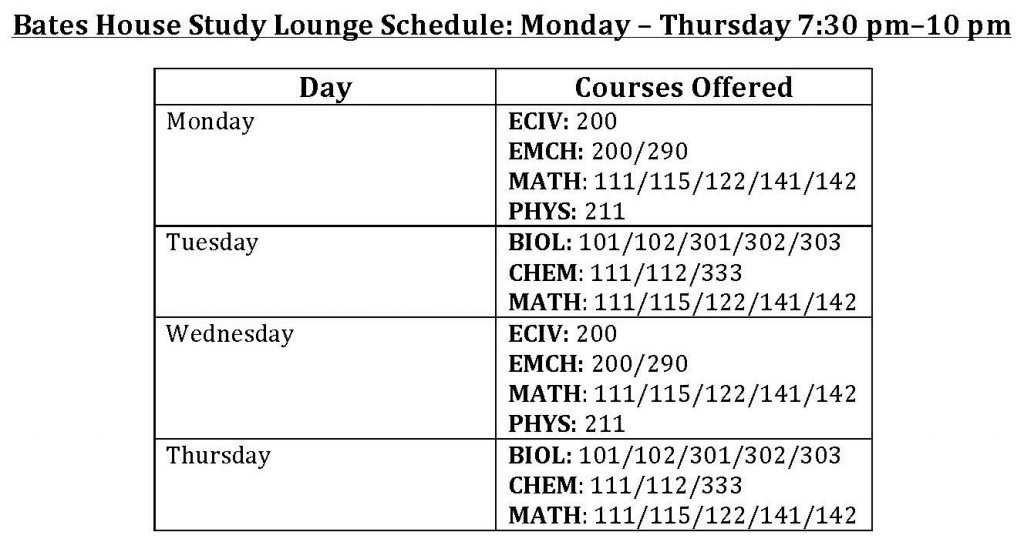Bates Tutoring Schedule