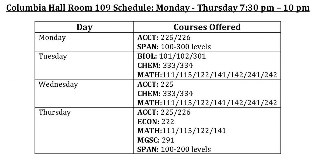 Columbia Hall Tutoring Schedule