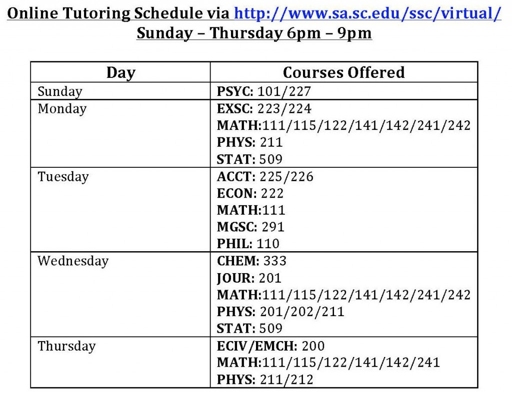 Online Tutoring Schedule