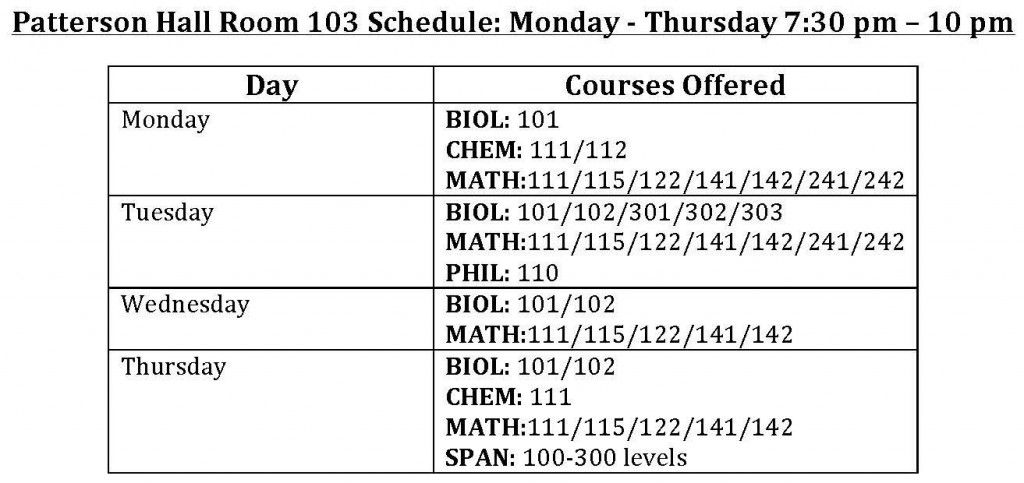 Patterson Tutoring Schedule