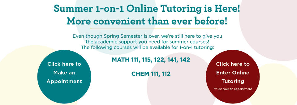 lower left make appointment button lower right enter online tutoring